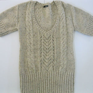 a.n.a. Chunky Knit Tan Short Sleeved Sweater